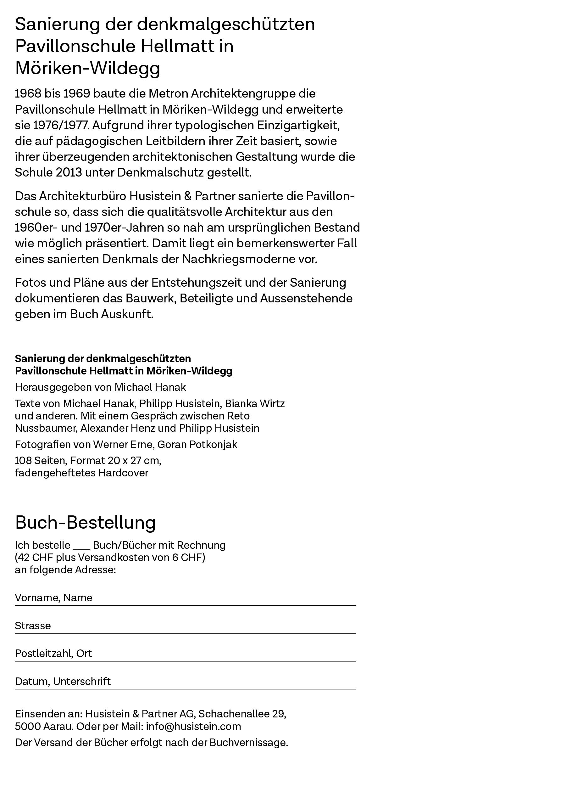 Buchbestellung - Husistein & Partner AG